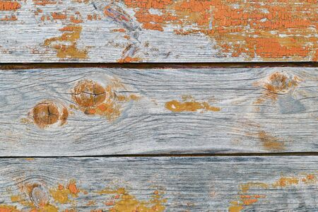 Orange wood texture with horizontal boards. Old wooden background.