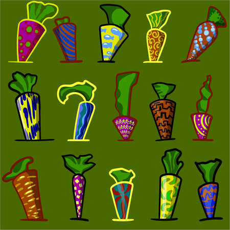 An abstract image consisting of a multitude of colorful objects, similar to carrots. Çizim