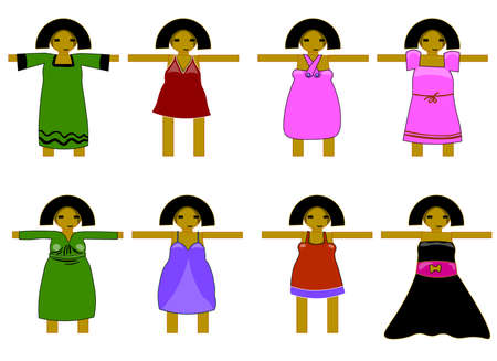 Girl model with different versions of dresses. Illustration