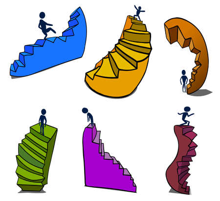 Distorted and deformed stairs with small people. Ilustração
