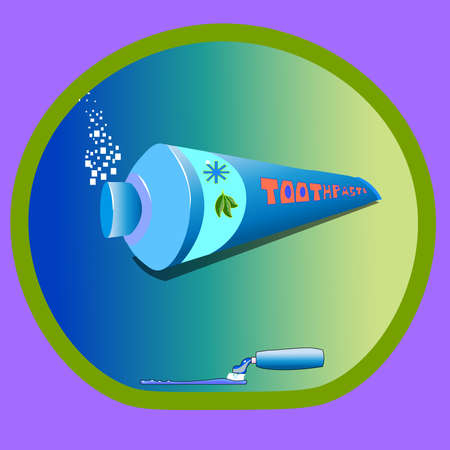 Image showing tube with toothpaste. The paste contains medicinal ingredients, this is shown in the form of three leaves. Just the toothpaste gives a fresh effect, - it shows the snowflake icon on the tube.
