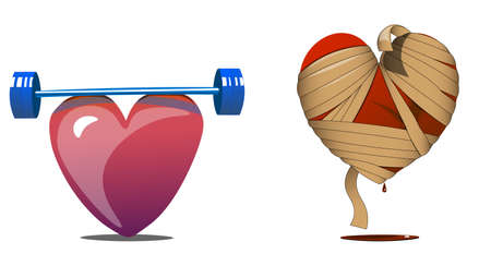 Two hearts in different physical and spiritual condition. One heart is emotionally wounded and bandaged. Illustration