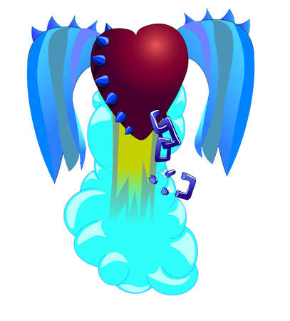scarlet: The heart soars up. On the heart there are thorns, wings and a chain. Illustration