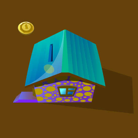 A house in the form of a moneybox, along with a coin flying into the slot.