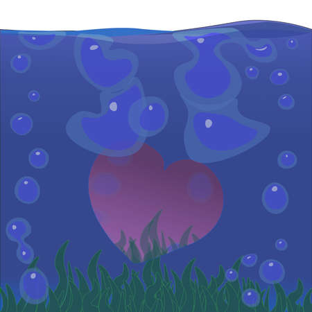 Image of a heart submerged in water surrounded by bubbles and green algae. Illustration