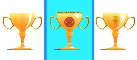 Three congratulatory gold cups for sport.