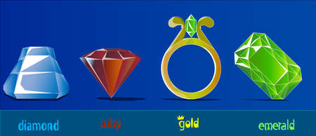 An image of four precious stones and a gold ring. In a row there are diamonds, rubies, a ring with an emerald and a separate emerald stone. Illustration