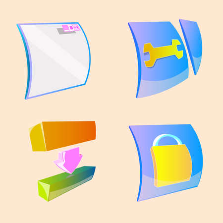 Set of four colored icons. The first icon is a window. In the second place there is a spanner and a breakaway piece. The third object is the two blocks and an arrow. The fourth icon contains a lock.