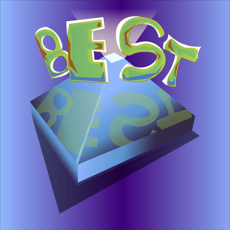 An image in the form of the word best and the pyramid at the bottom with a luminous vertex and a mirror surface.