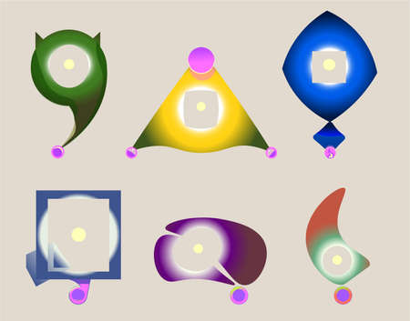 glows: Set of six abstract geometric icons. Illustration