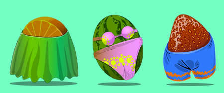 A set of three objects in the form of a fruit and outerwear with underwear.