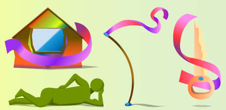 An image of four different objects. Objects - a figure of a man, a colorful house, a bent stick and a key. Almost all objects have ribbons with them. Illustration