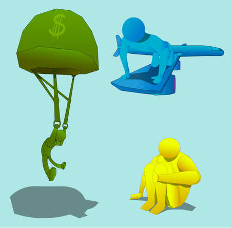 Three objects, representing three figures of a person. The first character flies by parachute. The second character sits on the wing of the plane. Another person is sitting with his hand on his leg. Ilustração