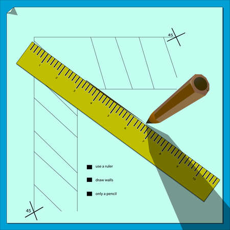An image of a drawing scheme where a ruler, inscriptions and a pencil casting a shadow are present.