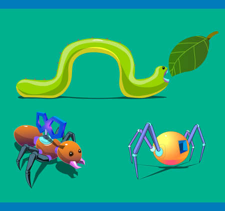 The image of the three insects in the form of robots or mechanical creatures.