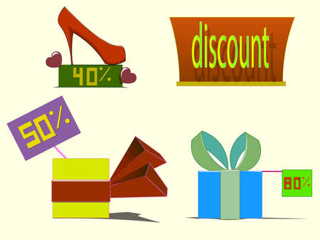 Image of several objects. Among them there are shoes, standing on the platform, gift boxes with ribbons and a sign discounts. Also items have signs with percentages. Ilustração