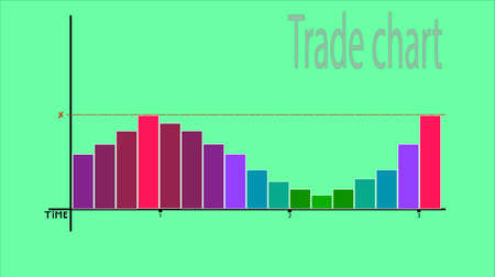Image of a trade chart. Columns of different colors and, rising, begin to blush. Illustration