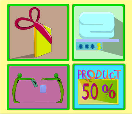 Image of several objects in a green frame. All objects are a gift wrapping with a ribbon, a thing and a price tag, two people, the word product and fifty percent. Ilustração