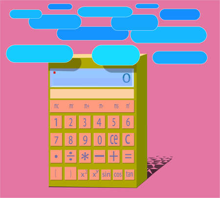 A calculator image with buttons, numeric values ??and blue objects on top. Illustration