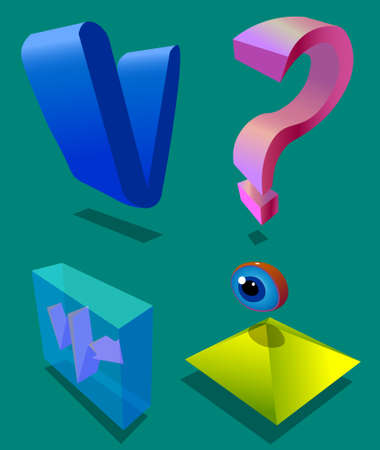 Image of four objects. The first object is the letter v. The second object is a question. The third object is a transparent figure. Another object is the pyramid and eye.