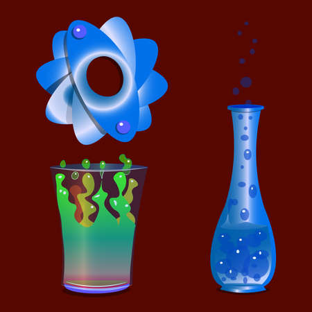 An image of three objects. The first two objects are with chemically active liquid. The first liquid wavers.
