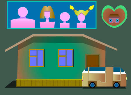The image consists of several objects. Among them there is a house, a car, icons of family members, an icon of the heart with a house.