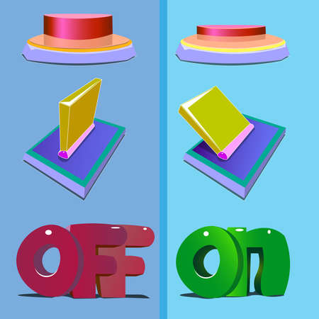 Image of six objects. The first three items are the button and the lever together with the word off. The second three objects are the included button and the lever, and the word on below.