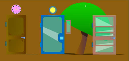 Three doors stand in a row. One of wood, the second of metal and glass, the third of wood and glass. There are additional objects: a clock, a window and a tree.