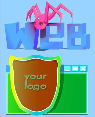 spider web: Image of the word web, spider and shield on the background of the window. Also on the shield is the inscription your logo. Illustration