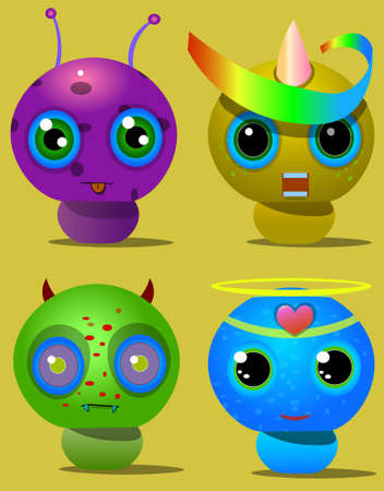 Picture of four characters. One creature with long horns, the second with one horn and a rainbow ribbon. Ilustração