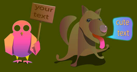 An image of two animals and banners with words. Ilustração