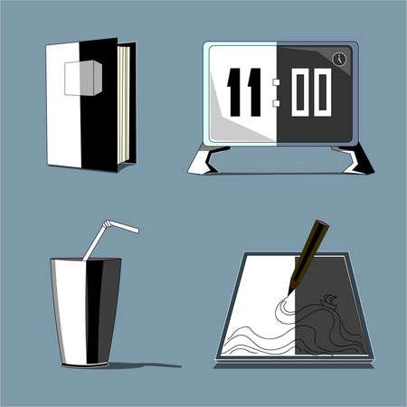Set of images in black and white design vector illustration