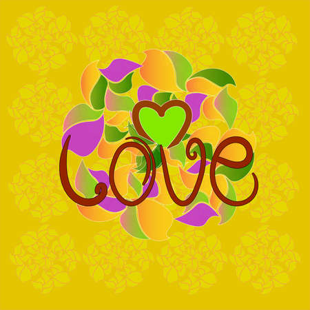 The image consists of patterns in the form of petals and the word love. Ilustração