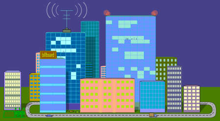 The image consists of several residential buildings and skyscrapers. There is also a road, cars, an antenna sending a signal.