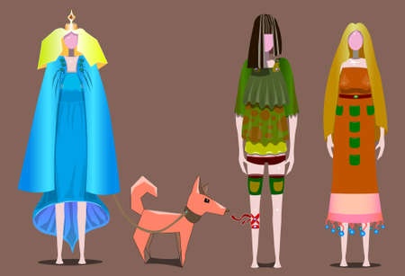 Picture of three women in different dresses and one dog on a leash. Illustration