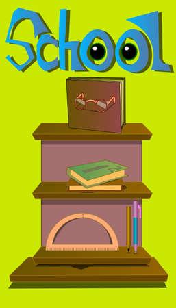 An image of books, the words school and tools. Ilustração