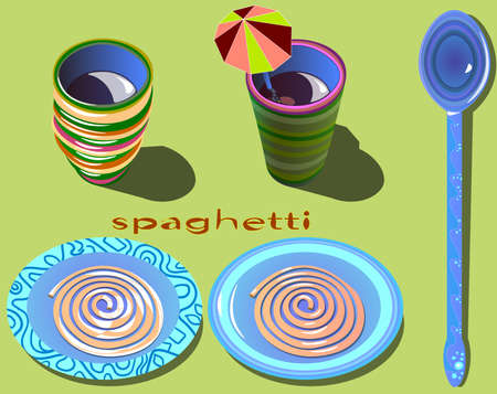 Image of plates with spaghetti and drinks in mugs. Ilustração