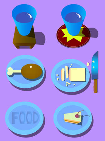 Image of plates with food and drinks in mugs. Illustration