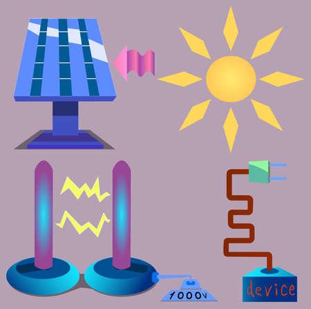 태양 에너지와 전기 에너지로 직접 작용하는 다양한 기술의 이미지. 일러스트