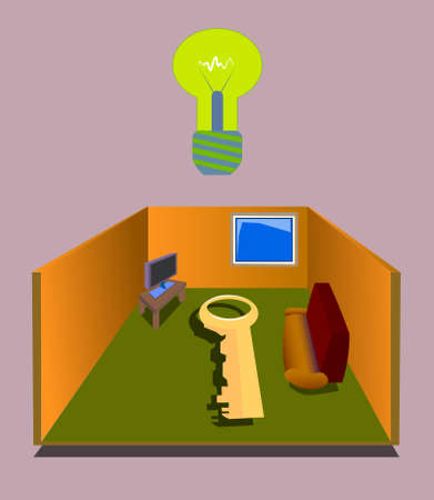 Image of a schematic interior with walls, TV, sofa, window and key. Also there is a light bulb over the interior. Çizim