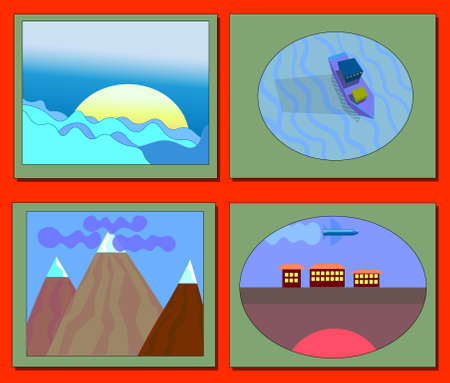 Image of several objects in a green framework. Among them there is a sun behind the clouds, a sea ship on the water, mountains and a section of land with houses and airplanes.