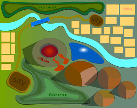 An image of the map where there is a volcano and the lava flowing from it. Ilustração