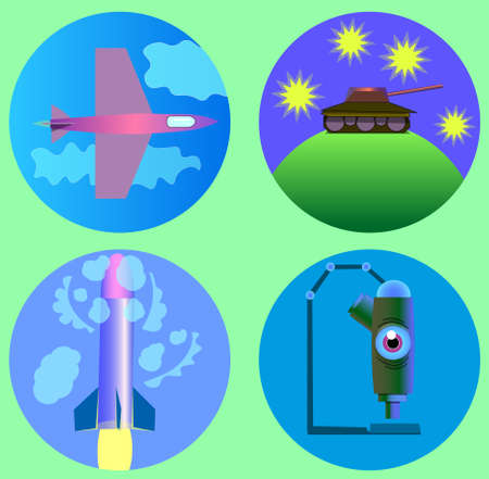 Image of several objects inside circles. Among them there is an airplane, clouds, a tank, stars, a rocket, a microscope and an eye. Illustration