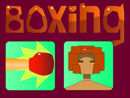 Image of several objects. Among them there is a hand in a boxing glove, beating at the target; head in a protective helmet and the word boxing.
