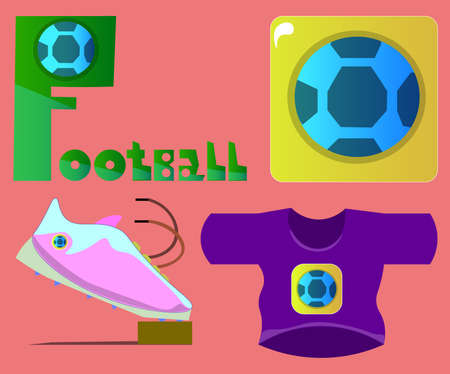 Image of several objects. Among them there is the word football, a ball, sports shoes and a T-shirt. Ilustração
