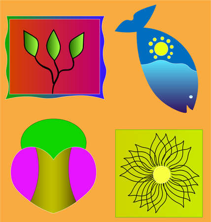 The image consists of several different objects. Among them there is a branch with leaves, a fish, a heart and a pattern.