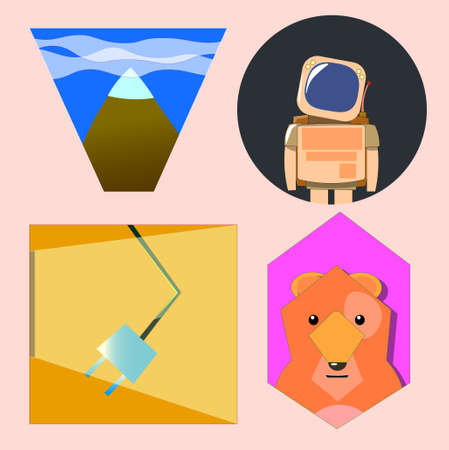 An image of several different objects inside geometric shapes. Among them there is an astronaut, a mountain with clouds, a rosette under a ray of light and an animal.