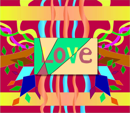 The image of the word love, cut into several parts. Against the background of this word, colored objects in the form of strips and geometric figures are depicted. Ilustração