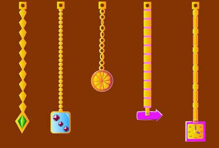 An image of several jewelry on chains. Ilustração