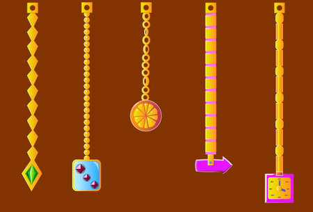 An image of several jewelry on chains. Illustration